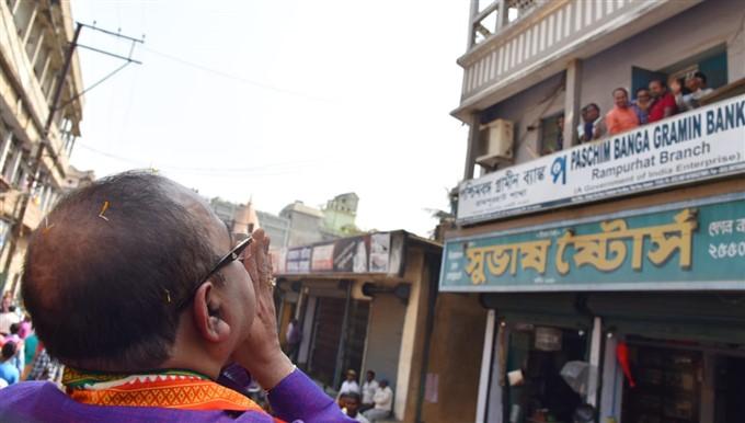 BJP Leader Sovan Chatterjee And Baisakhi Banerjee Road Show At Rampurhat