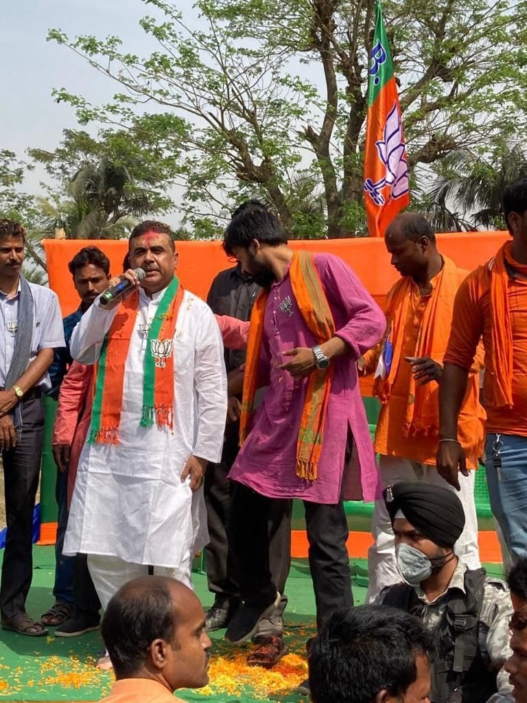 BJP Leader Suvendu Adhikari Campaigns At Nandigram