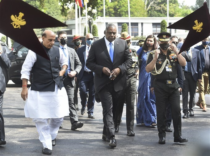 US Secretary Of Defence Lloyd Austin At Vigyan Bhawan In New Delhi