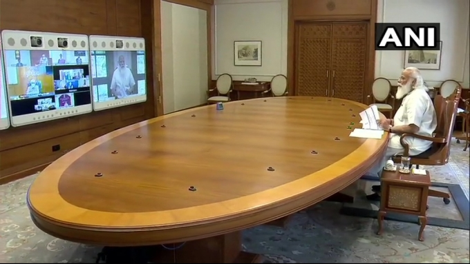 PM Narendra Modi During A High-level Meeting On COVID19 Situation