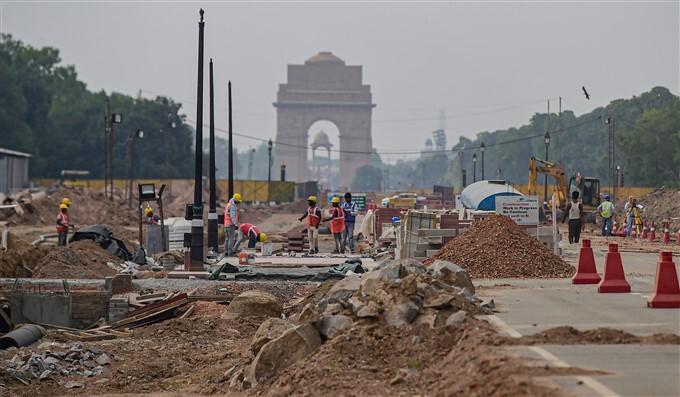 Construction Work Underway At Central Vista Redevelopment Project In New Delhi