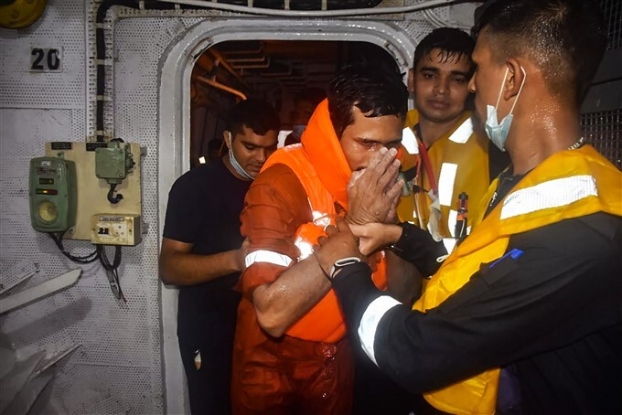 Indian Navy Conducts Rescue Operation For Barge P305 Crew Members