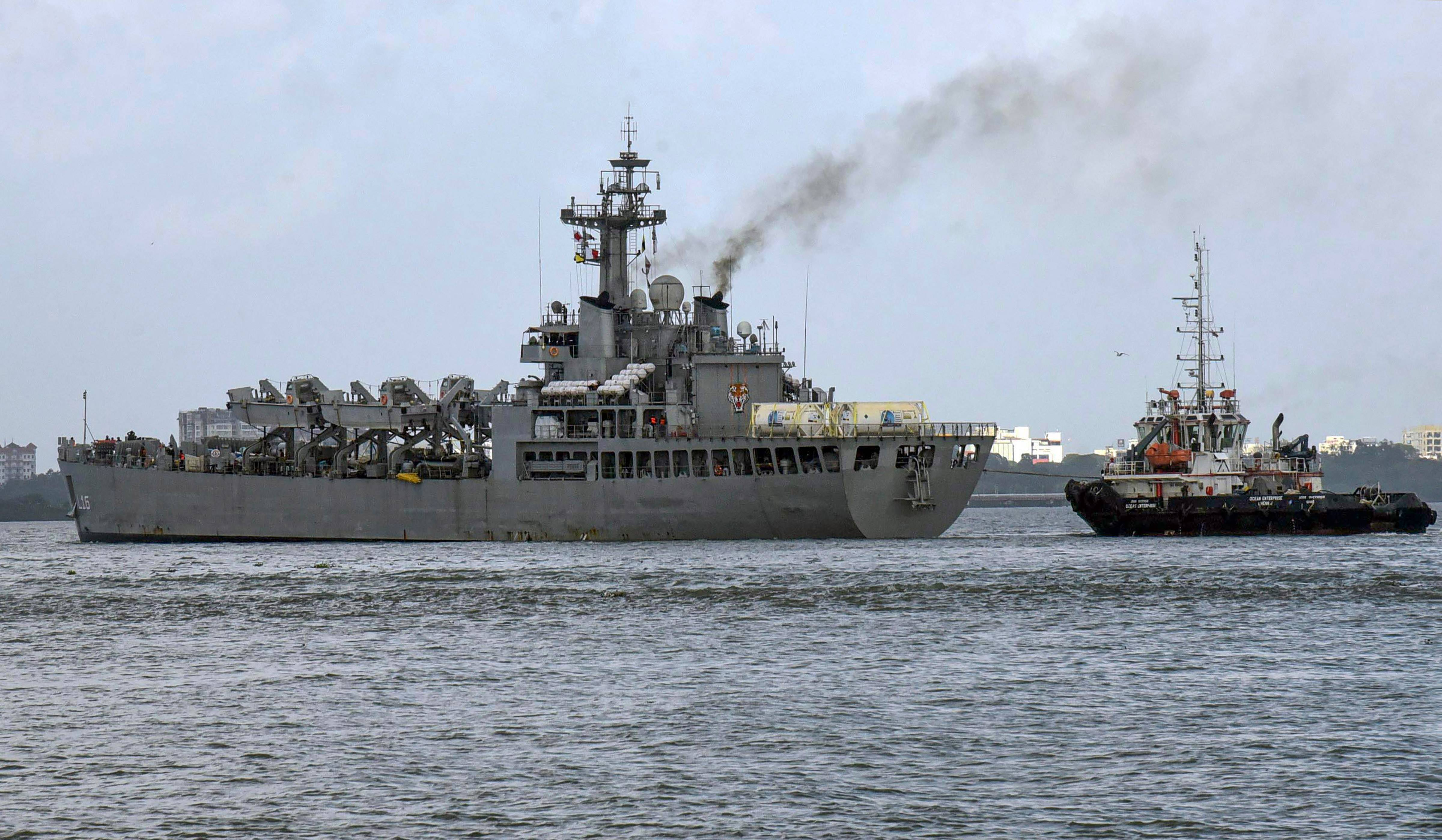 INS Shardul With 80 Metric Tons Of Oxygen Arrives At Kochi Port