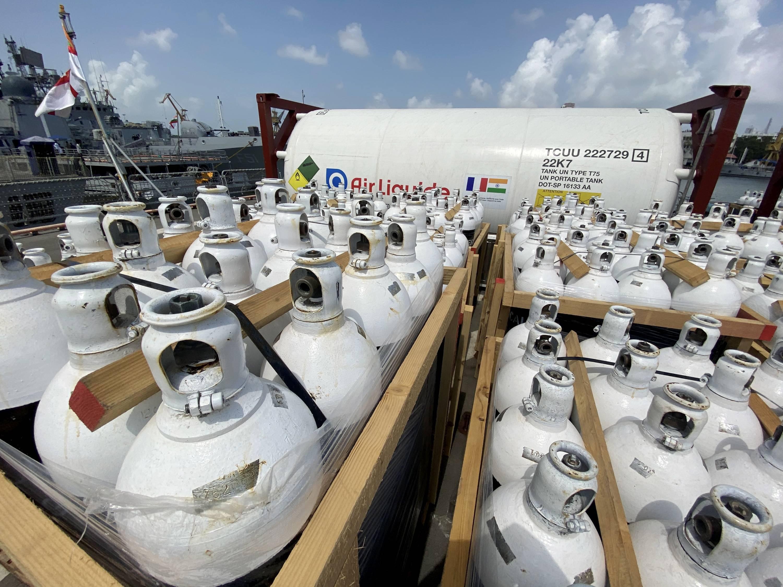 INS Tarkash With Oxygen From Qatar Behrain Reaches Mumbai Port