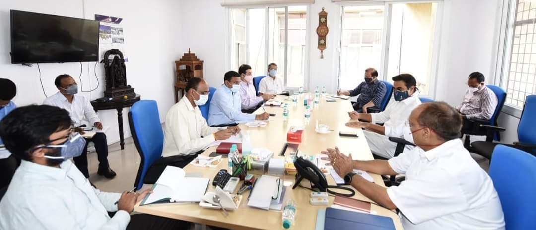 K. T. Rama Rao Meets Telangana Task Force Committee On Covid In Hyderabad