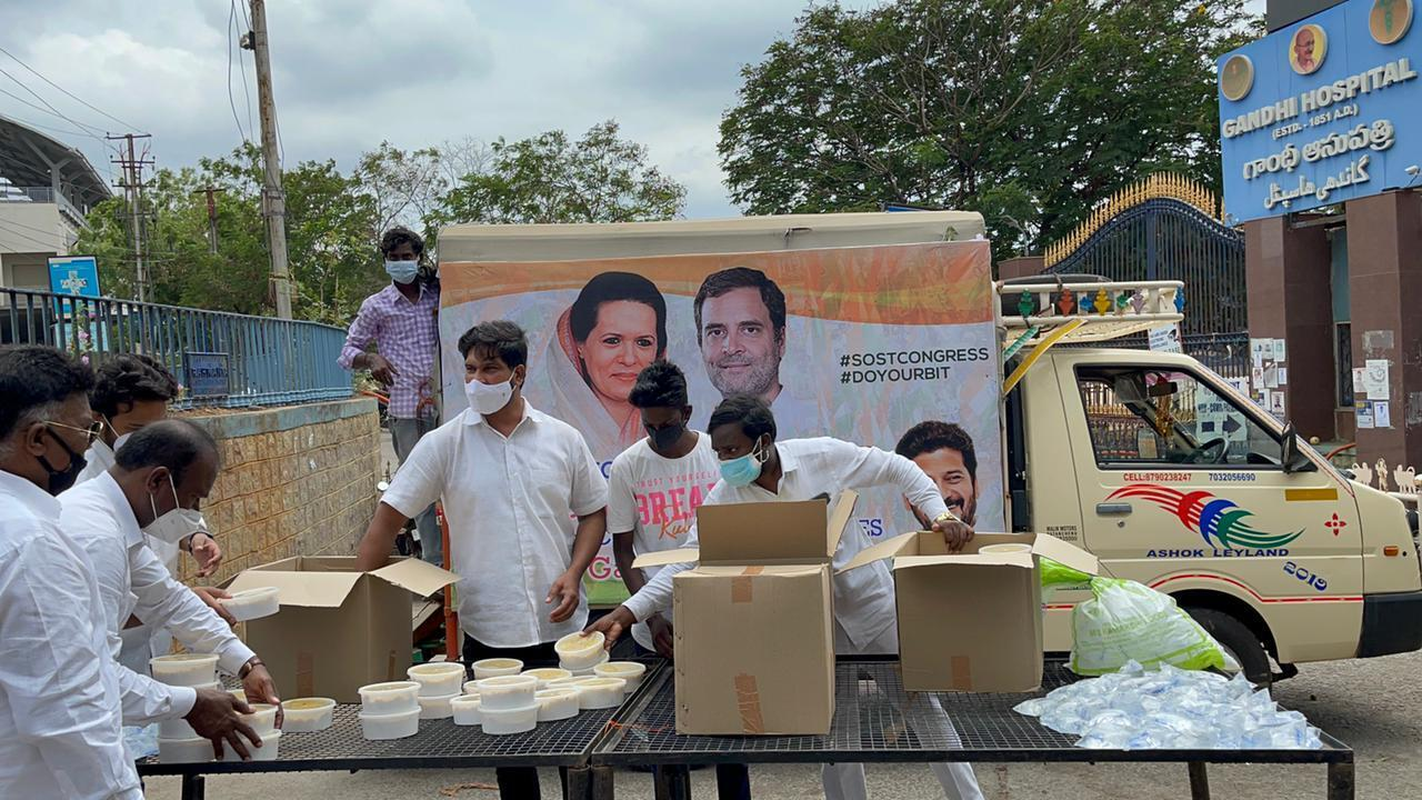 MP Revanth Reddy Provides Free Meals To The Poor Near Gandhi Hospital In Hyderabad