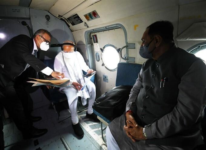 PM Narendra Modi Conducts Aerial Survey In Gujarat And Diu