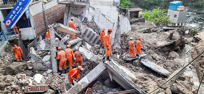Rescue And Relief Operation After Several Houses And Shops Damaged Due To Cloudburst In Uttarakhand