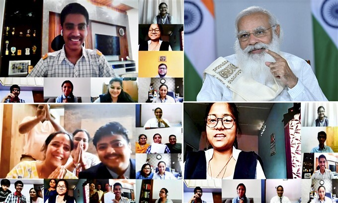 PM Narendra Modi Interacts With The Class 12th Students And Their Parents Through Video Conferencing, In Delhi