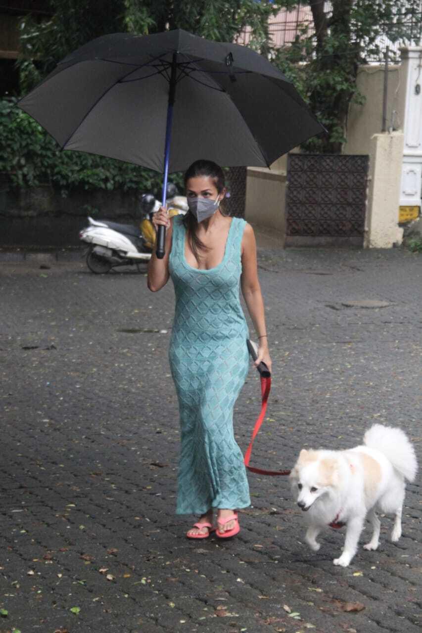 बारिश से भीगी सड़क पर छाते के साथ सैर पर निकलीं मलाइका अरोड़ा   Malaika  Arora went on a walk with an umbrella on the rain drenched road - Oneindia  Hindi