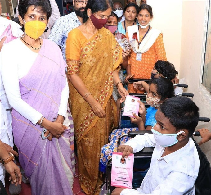 Minister Sabitha Reddy Distributes Wheel Chairs To PH Children
