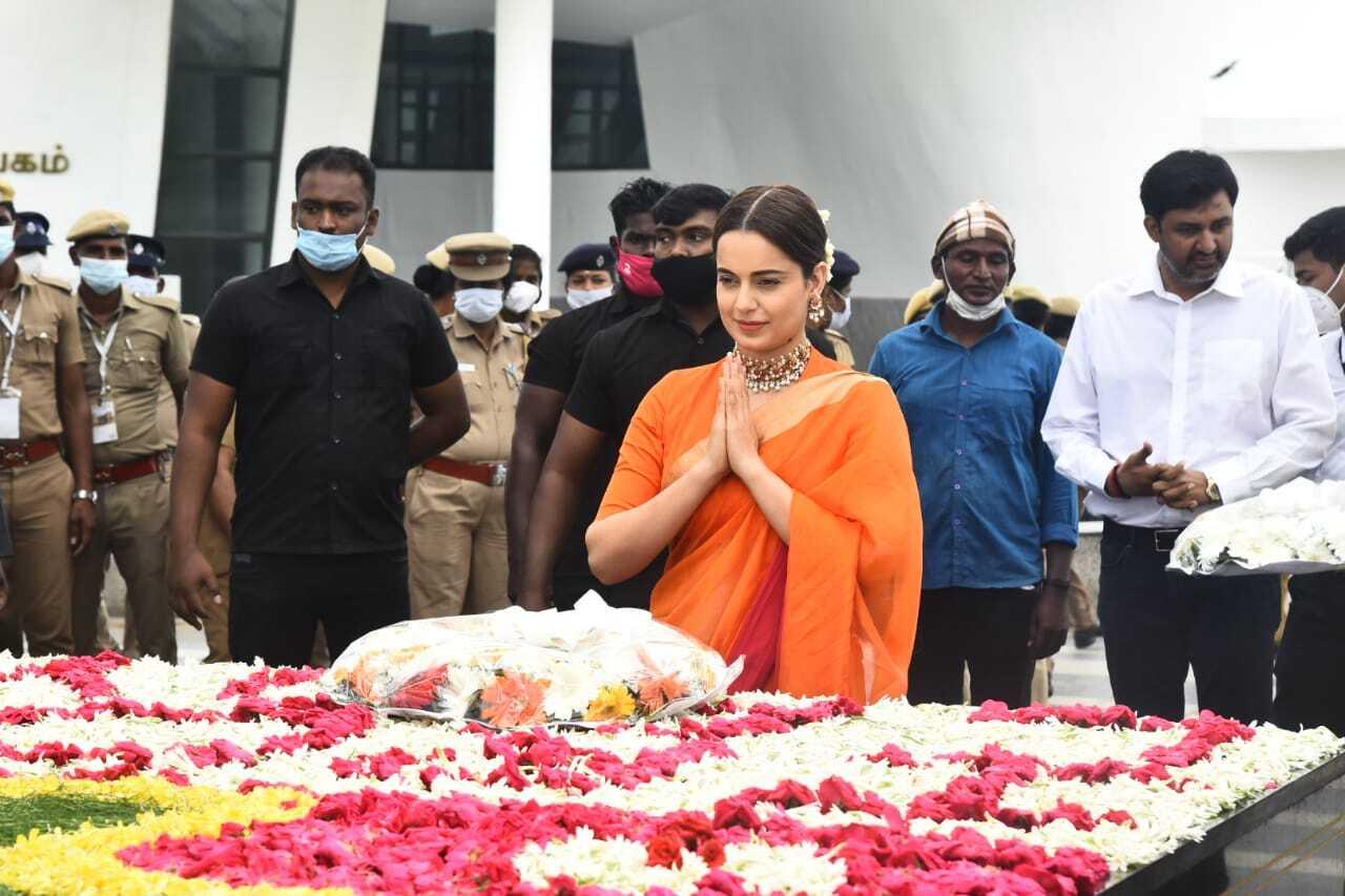 ஜெயலலிதா நினைவிடத்தில் நடிகை கங்கனா மரியாதை!.....'ஜெ'வாக மாறிய கங்கனா!....இணையத்தில் செம ட்ரெண்டிங்!