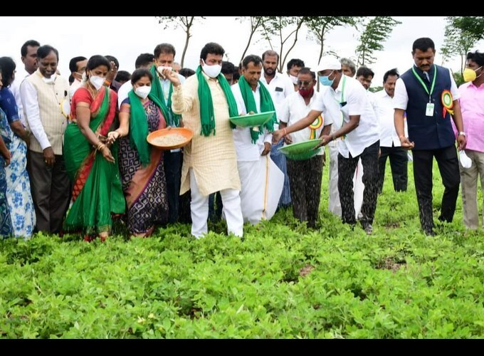 Agriculture Minister BC Patil During A Program Of One Day With Farmers