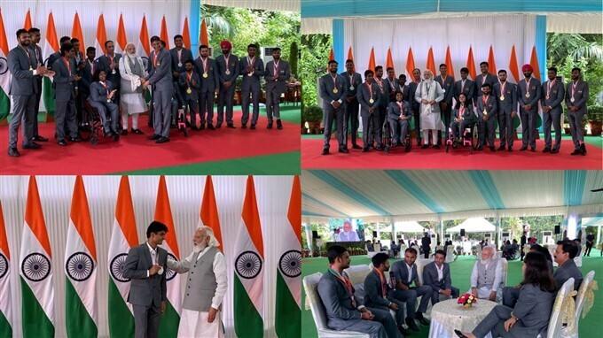 PM मोदी ने भारतीय पैरा एथलीटों से की अपने आवास पर मुलाकात, देखें Photos